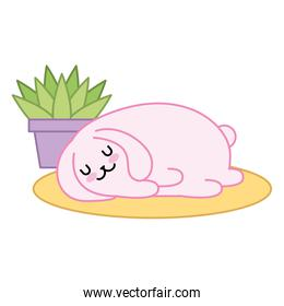 cute rabbit sleeping with house plant kawaii character