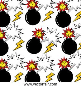 boom explosive and thunders pop art pattern