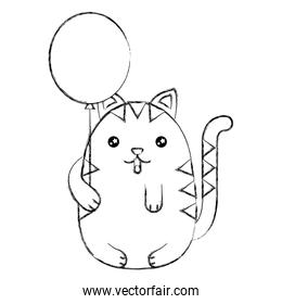 cute kawaii cat holding balloon character