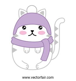 cute cat with scarf and hat kawaii character