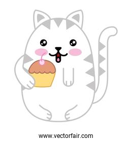 cute cat with delicious cup cake kawaii character