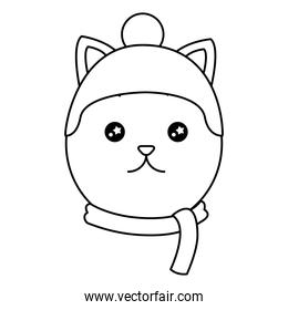head cute cat with scarf and hat kawaii character
