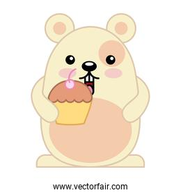 cute hamster with delicious cup cake kawaii character