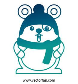 cute kawaii mouse cartoon wearing warm hat and scarf gloves