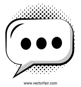 speech bubble pop art with oval shaped and points