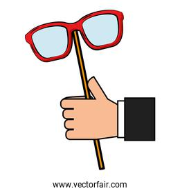 hand with eye glasses in stick pop art style