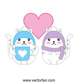 couple cute cats with heart and accessories for winter climate kawaii character