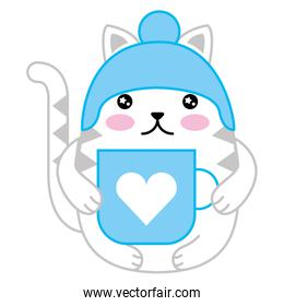 cute cat with hat and cup kawaii character