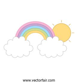 rainbow with clouds and sun isolated icon