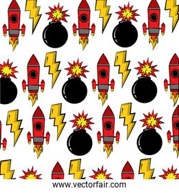 rocket with explosive bomb and thonderbolt pop art style pattern