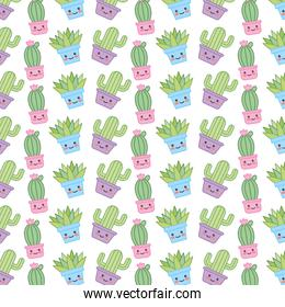 house plant in pot with smile pattern kawaii character
