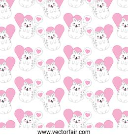 cute cat with speech bubble and heart pattern kawaii character