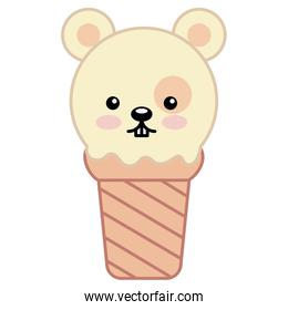 kawaii ice cream face mouse cartoon
