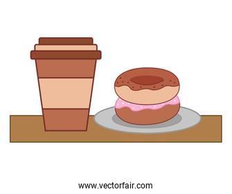 paper coffee cup and sweets donut on dish