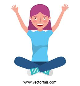 young woman sitting with hands up avatar character