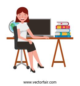 woman with laptop in the office character