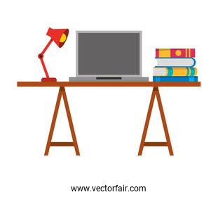 laptop with desk and books workplace