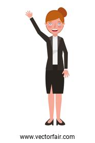 elegant businesswoman with hand up avatar character