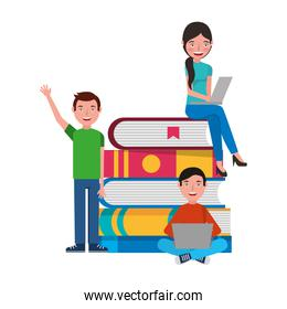 young people with laptop and books
