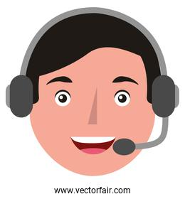 young man head with headset avatar character