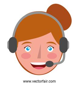 young woman with headset avatar character