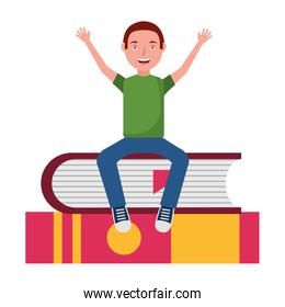 young man sitting in books avatar character