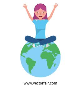 young woman sitting in the world avatar character
