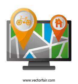 computer with map gps navigation bike route and home pointers