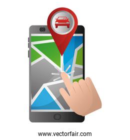 hand clicking pointer map car location