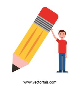young man holds big wooden pencil school