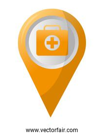 map pointer navigation with medical suitcase