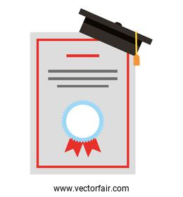 school certificate diploma with hat graduation