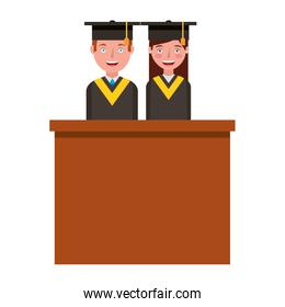graduate couple in podium isolated icon