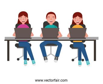 people with desk and laptop computer isolated icon