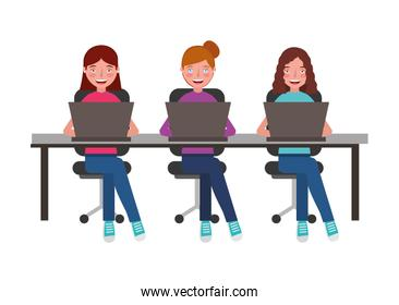 young women in office chair and desk with laptop computer