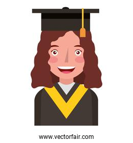 young woman with graduation hat avatar character