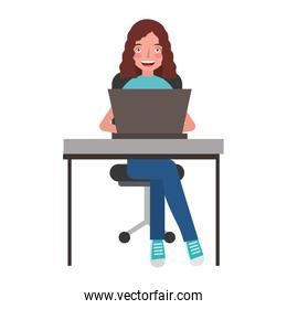 young woman in office chair and desk with laptop computer