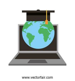 laptop computer with world planet earth and hat graduation