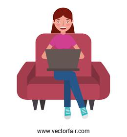 woman with laptop in the sofa character