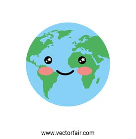 world planet earth kawaii character
