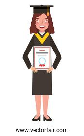 young woman with graduation hat and diploma