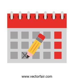 calendar reminder with pencil isolated icon