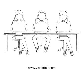people with desk isolated icon