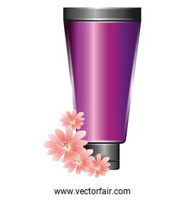 cream or lotion cosmetic tube for skin care product flowers essence