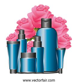 set of cosmetic packages template of plastic containers bottles tubes
