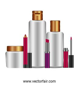 bottles of cream and accessories female make up