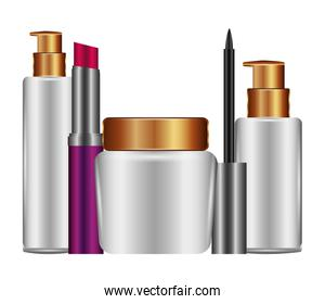 bottles of cream and accessories female make up icons