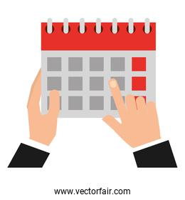 hands with calendar reminder isolated icon