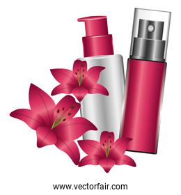 bottle of splash and bottle of cream with flowers female make up