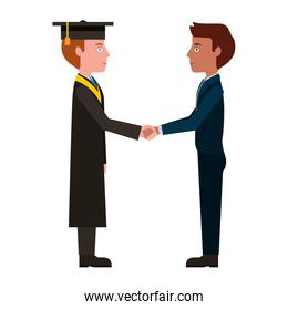 graduate man with bussinesman shaking hands